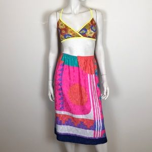 Vintage 80s abstract pattern midi skirt